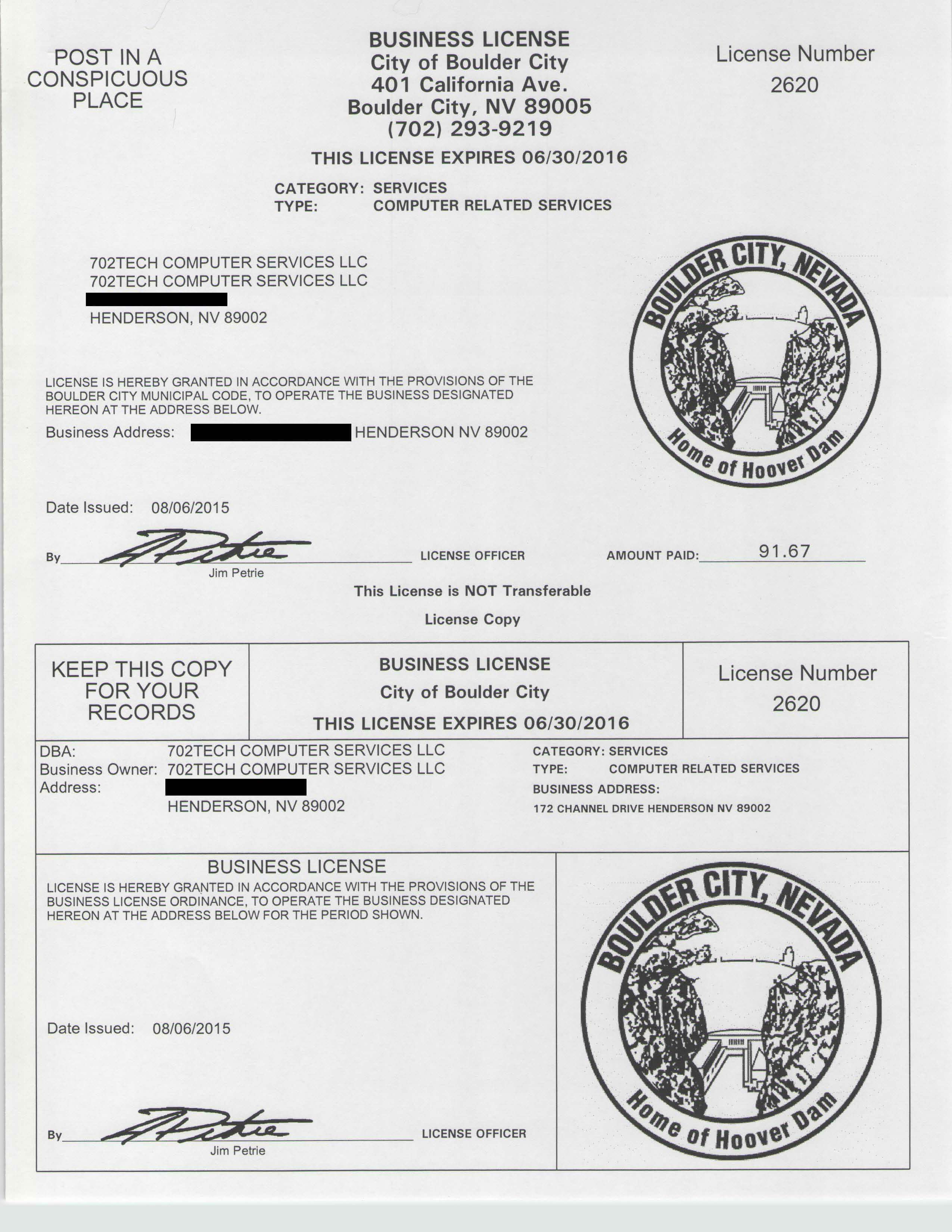 Business Licenses Serving Boulder City Henderson And